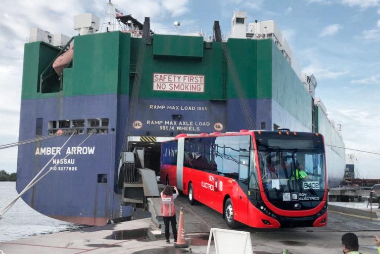 llegan 9 unidades de metrobus eléctrico a la línea 3
